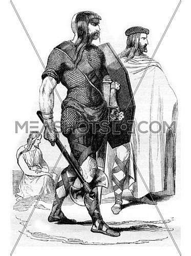 Costumes francs, fourth century, vintage engraved illustration. Magasin Pittoresque 1842.