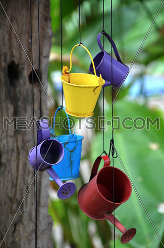 colorful buckets and watering cans
