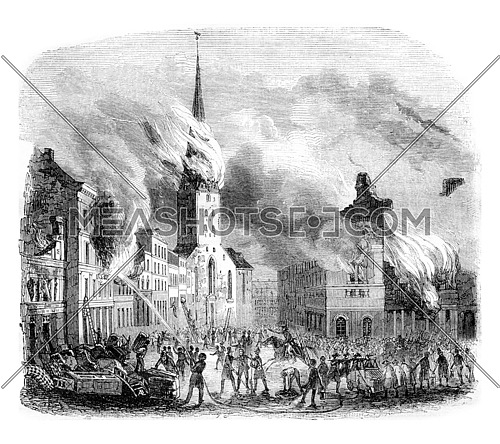 Fire of the church Saint-Pierre, in Hamburg, vintage engraved illustration. Magasin Pittoresque 1842.