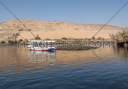 an empty boat in the nile in aswan