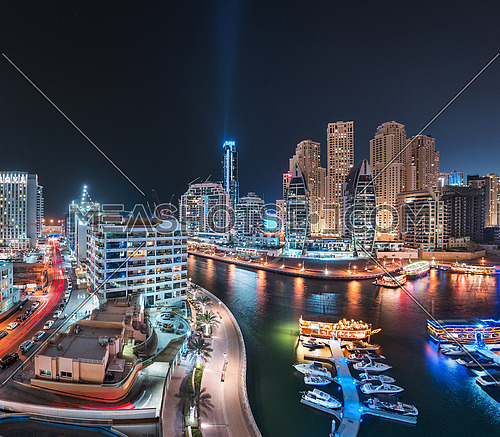 Dubai Marina Bay Panoramic view at night