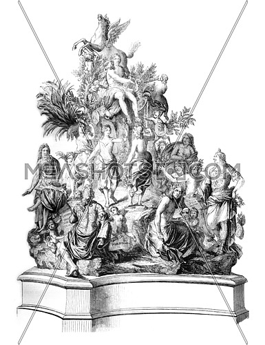 The French Parnassus Titon Tillet, Model bronze preserved in one of the rooms of the Royal Library, vintage engraved illustration. Magasin Pittoresque 1845.