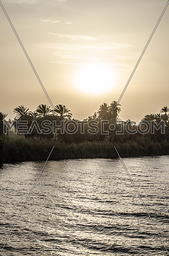 A silhouette of the Nile river during sunset
