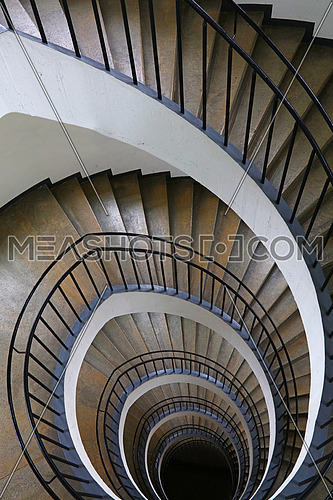 Spiral staircase with curve shape diminishing perspective, high angle view