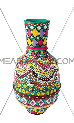 Egyptian decorated colorful painted pottery vase (arabic: Kolla), an Ancient Egyptians tradition, isolated on white