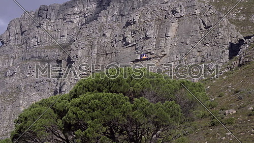 Scene of cable car ascending Table Mountain Aerial Cableway