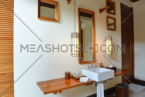 Luxury modern beautoful bathroom suite indoor
