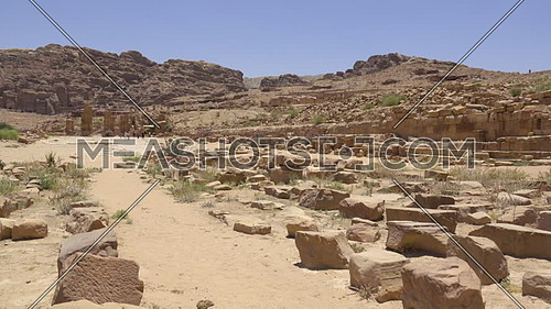Short left pan of the ruins located in ancient Petra