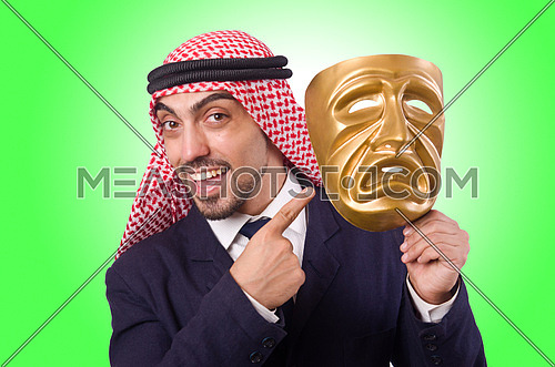 Arab man with mask on white