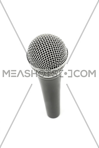 Vocal microphone high angle view close up isolated on white background, personal perspective