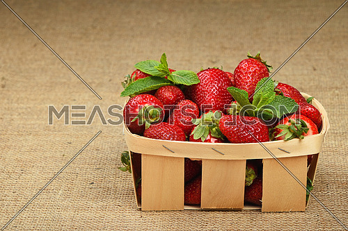 Wicker wooden basket full of mellow red summer strawberries and fresh mint leaves on jute burlap canvas background, side view