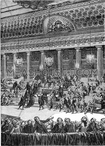 Night of August 4, 1789, Abandonment of privileges, vintage engraved illustration. Magasin Pittoresque (1882).