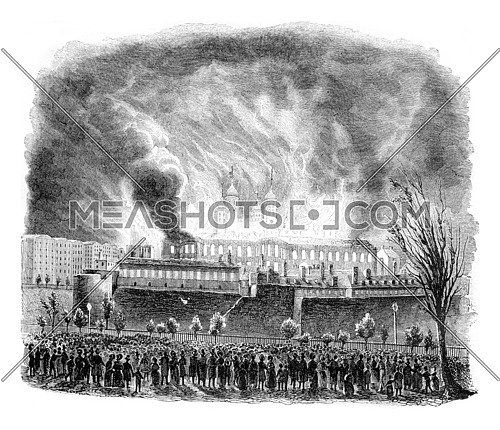 Fire of the Tower of London, vintage engraved illustration. Magasin Pittoresque 1842.