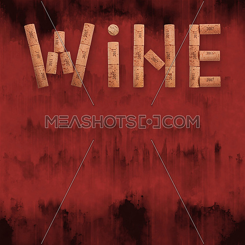 Word WINE shaped by natural wooden wine bottle corks of different vintage years over abstract grunge red paint stained background