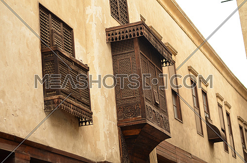 An islamic old wooden bay and window in an old house