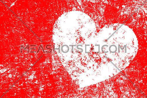 Grunge white heart shape over red noisy distressed shabby abstract romantic background