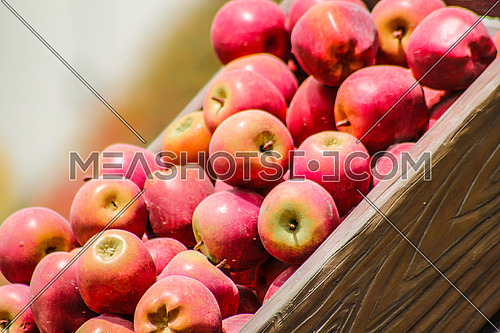 A rack of red apples