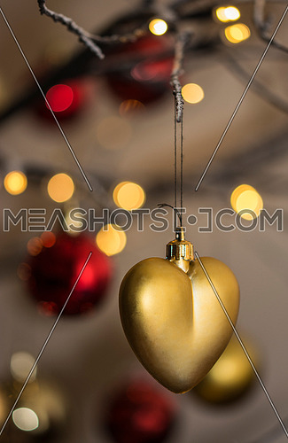 Heart shape christmas decoration with bokeh lights