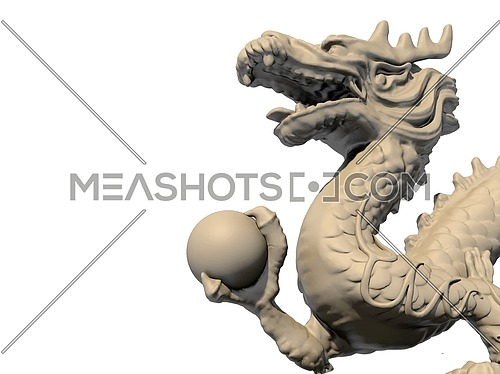 White Chinese dragon statue holding a ball in his claws, isolated against a white background. Close-up view 3D image.