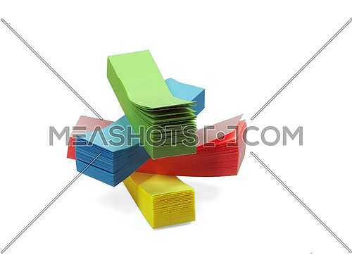 assorted colour memo stickers isolated on white background