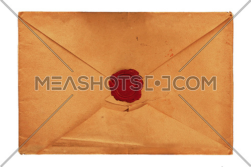 Old vintage yellow paper blank mailing envelope with retro styled red wax seal, close up, elevated top view