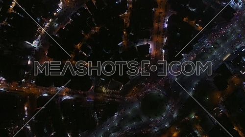 Fly Over top shot for Al Mohandseen area revealing Moustafa Mahmoud Square 22th of March 2018 in Giza  at Night