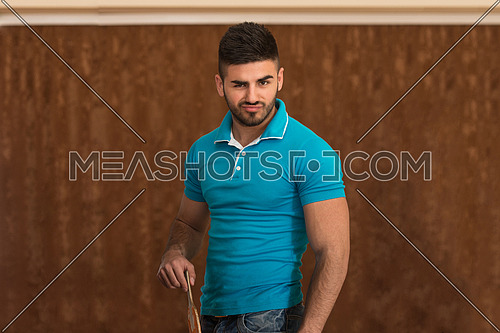 Portrait Of A Young Man Playing Ping Pong Sport