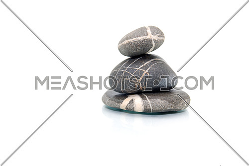 zen stones with reflection isolated on white background