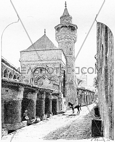 City of Tunis in Tunisia, showing the Al-Zaytuna Mosque, vintage engraved illustration. Dictionary of Words and Things - Larive and Fleury - 1895