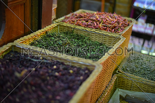 various spices on traditional middle eastern street market