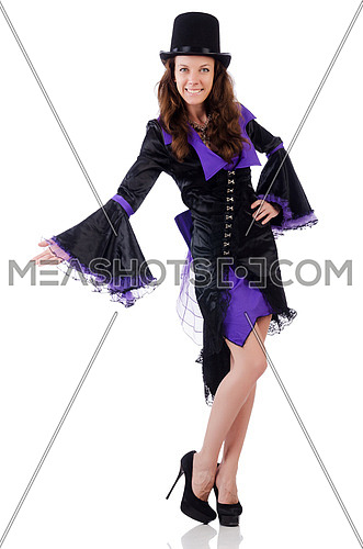 Girl in violet and black dress holding mask isolated on white