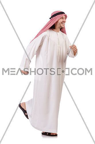 Hurring arab man isolated on white