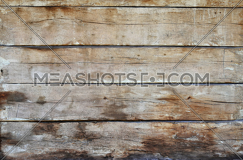 Old grunge vintage brown wooden panel texture background with horizontal unpainted aged planks, cracks, stains and gaps