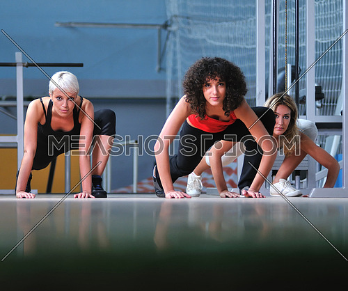 group of wiman working out in fitness club