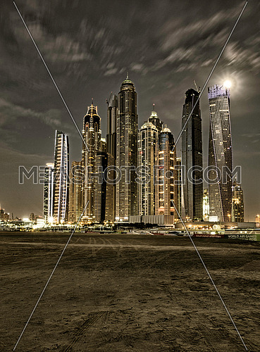 Dubai Marina towers stylised image shot on (20 Apr 2016)