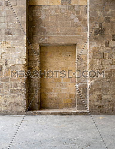 Recessed frames in an old stone bricks wall, Medieval Cairo, Egypt