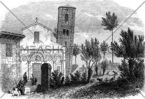 The leaning tower of San Michele degli Scalzi, near Pisa, vintage engraved illustration. Magasin Pittoresque 1857.