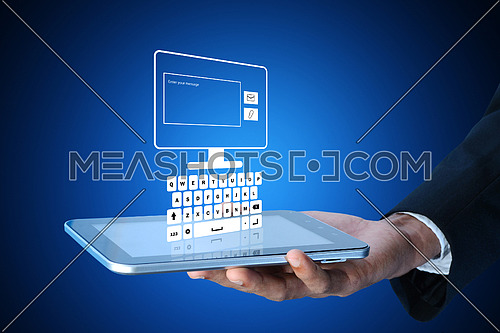Man showing the tablet in color background