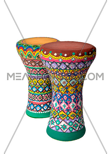 Two colorful painted goblet drums (chalice drum, darbuka, doumbek, tablah) used mostly in the Middle East, North Africa, South Asia, isolated on white