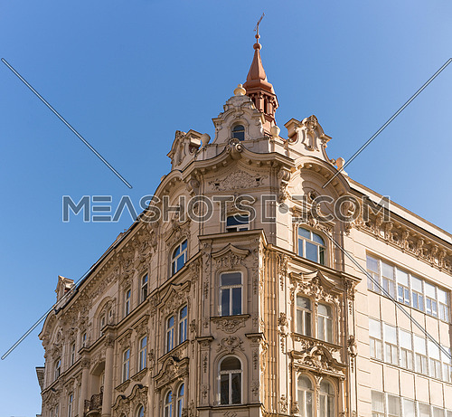Beautiful facades of the historical building in Brno.