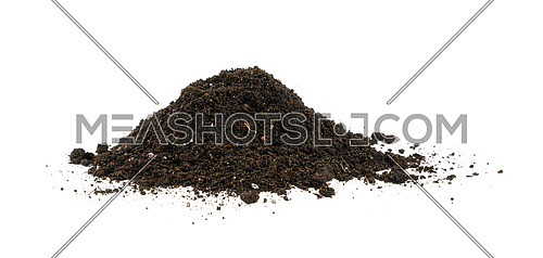 Close up one heap of black humus soil isolated over white background, low angle side view