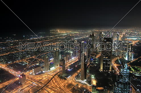 Dubai Downtown area at night