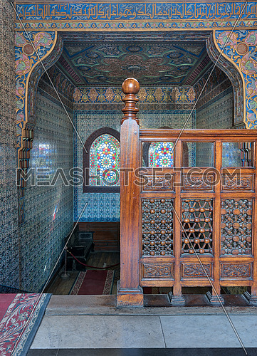 Wooden staircase, decorated wooden balustrade, Turkish ceramic tiles wall, ornate ceiling, stained glass windows, Residence hall at Manial Palace of Prince Mohammed Ali, Cairo, Egypt