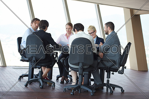 young business people group have meeting and working in modern bright office indoors