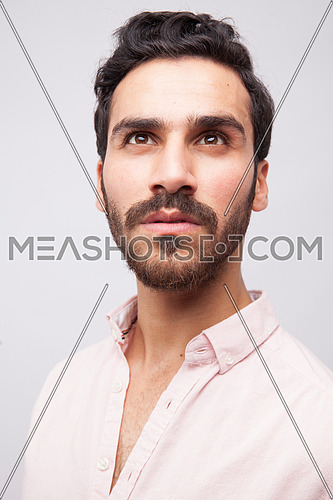 A young man portrait on a white background