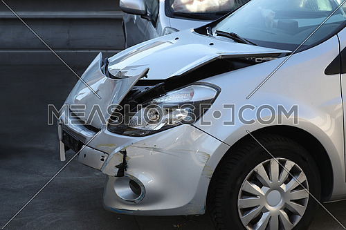 Car accident front end damage detail