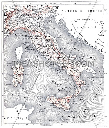 Map of modern Italy, vintage engraved illustration. Dictionary of words and things - Larive and Fleury - 1895.