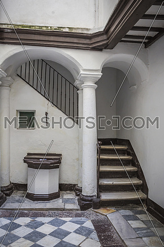 Cadiz Spain- April 2: entry to typical house of this city, popular architecture of the XIXth century, traditional architecture in Cadiz, Andalusia, so