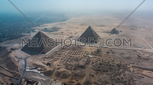 Aerial Drone for The Great Pyramids of Giza at day