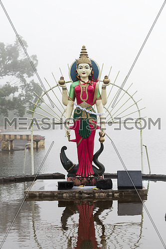 Statue of Shakti in a hindu temple (Grand Basin), in the day with fog ,mystical atmosphere.Mauritius